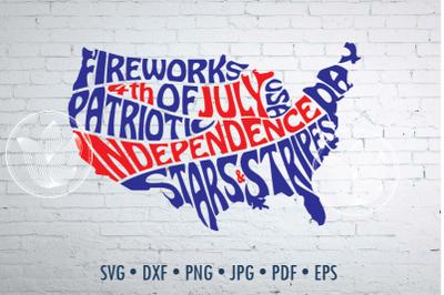 4th of July word art, USA jpg, png, pdf, eps, svg, Cut file