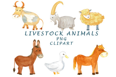 farm animals watercolor clipart.