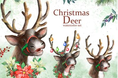 Christmas deer. Watercolor deer. Bullfinch. Christmas. Christmas decor