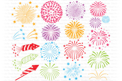 Fireworks SVG Cut Files, Fireworks Clipart, 4th of July SVG PNG.