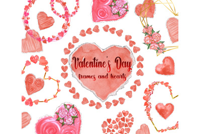 Watercolor Heart Clipart. Valentines day card frame, hand painted.