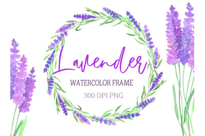 Watercolor frame with lavender.