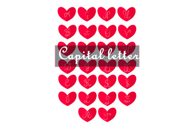 Valentine's day icon with calligraphic letters. Heart shaped letters i