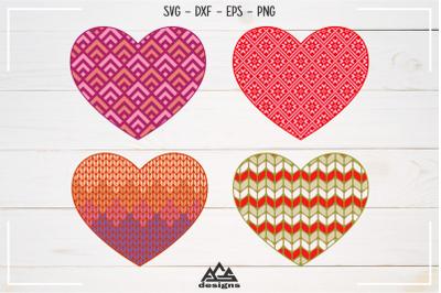 Love Heart Knitted Pattern Valentine Svg Design