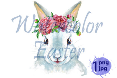 Watercolor illustration of a white rabbit with flowers