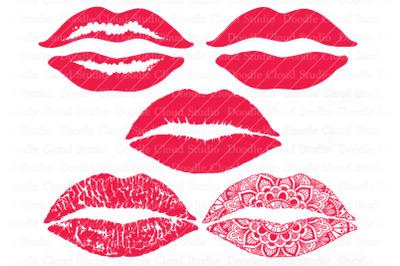 Lips SVG Kiss SVG, Kissing Lips SVG & PNG, Red Lips svg, Lips Mandala.