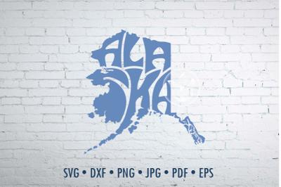 Alaska Word Art, Svg Dxf Eps Png Jpg, Cut file