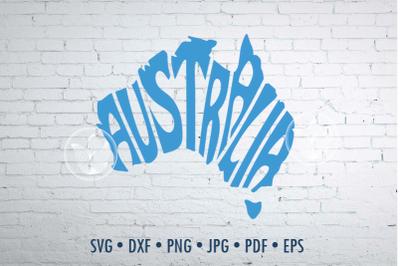 Australia Word Art, Svg Dxf Eps Png Jpg, Cut file