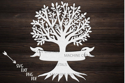 Family reunion tree with names ribbon paper laser cut svg dxf