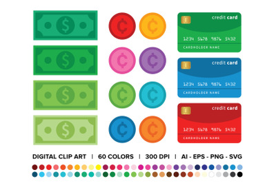 Dollars, Cents, & Credit Cards Clip Art Set