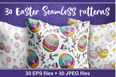 Easter seamless patterns in doodle style