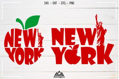 New York City Apple Svg Design