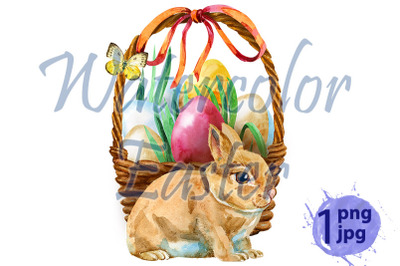 Watercolor illustration of beige rabbit and easter basket