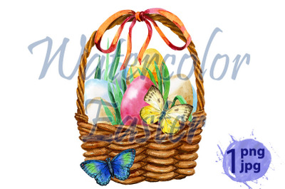 Watercolor illustration of easter basket with butterflies