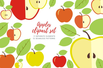 Apples clip art, Fruit illustration Individual elements  Digital paper