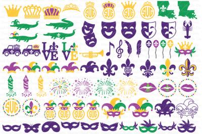 Mardi Gras Bundle SVG, Fleur de Lis, Carnival Svg, Mardi Grass Clipart