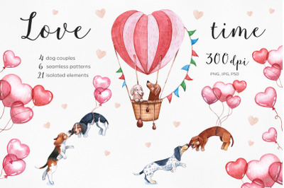 Watercolor Valentine's Day set illustrations. 14 Februry. Dog