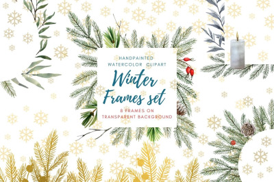 Watercolor Hand Drawn Christmas Frames Clipart Set
