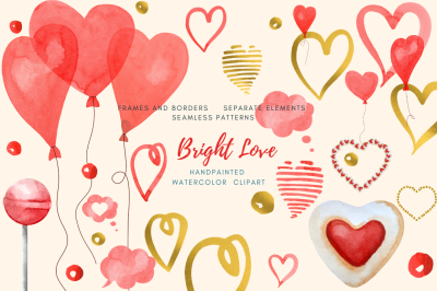 Valentine's Day watercolor clipart set. For greeting, wedding card
