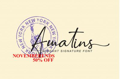Amatins -Script handwritten font