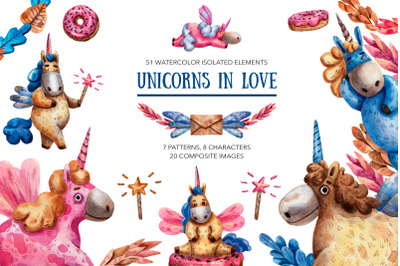 Unicorns In Love - Watercolor Clip Art Set