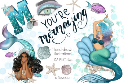 You're Mermaizing Clipart & Patterns