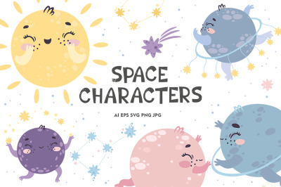 Space characters. Alphabet. For Kids