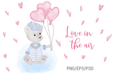Teddy Bear With Heart Balloons. Valentine's Day