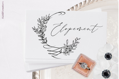 Elopement Wedding. Digital clipart.