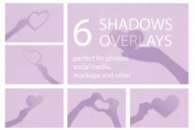 Shadows overlay mockup. Set of 6  valentine heart shadows