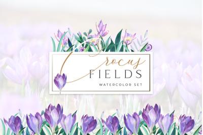 Spring Crocus Flowers Watercolor set