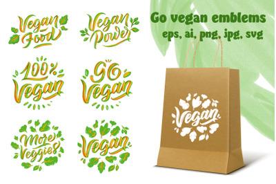 Go vegan. Set of lettering phrases