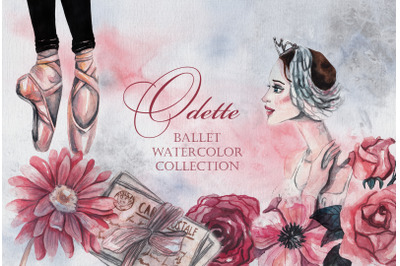 Odette. Ballet watercolor collection