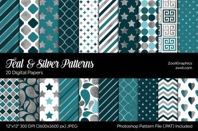 Teal & Silver Digital Papers