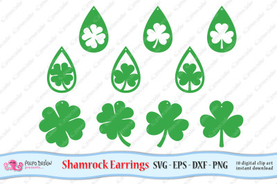 Shamrock Earring SVG, Eps, Dxf and Png