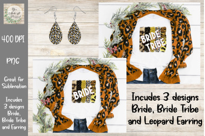 Bride, Bride Tribe and Earring Set. Leopard Brush Stroke Background.