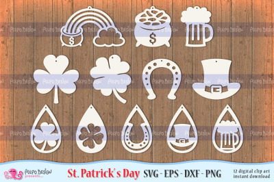 St Patrick's Day Earrings SVG, Eps, Dxf and Png