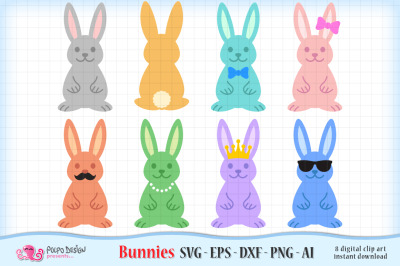 Bunny SVG, Ai, Eps, Dxf and Png