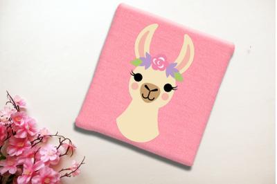Flower Crown Llama | SVG | PNG | DXF