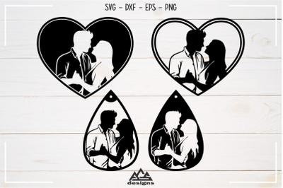 Couple in Love Heart Valentine Wedding Earring Svg Design
