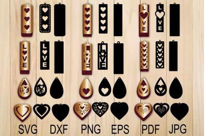Heart Earring SVG, Valentine Earrings, Earrings Template, Earrings svg