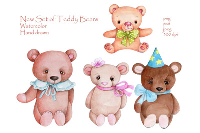New Set of Teddy Bears. Watercolor.