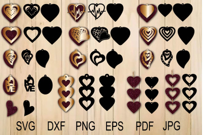 Heart Earring SVG, Valentine Earrings, Earrings svg, Earrings Template