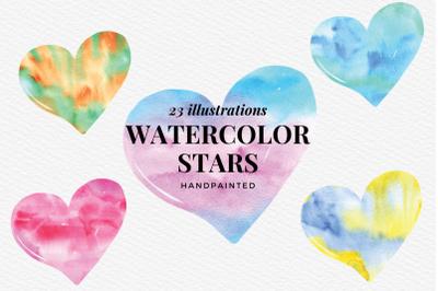 Watercolor Hearts Clip, Watercolor Texture Hearts Clipart, Love Hearts