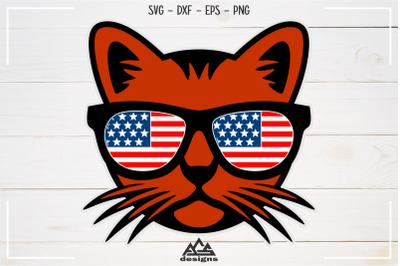 Cat Usa Flag Sun Glasses Svg Design