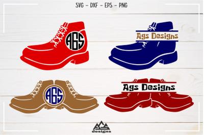 Shoe Sneakers Split Monogram Frame Svg Design