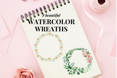Watercolour Leaf Wreath Clipart, Wedding Digital Elements, Wreaths