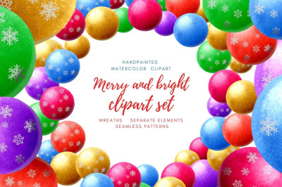 Merry & Bright clipart set. Handpainted watercolor elements