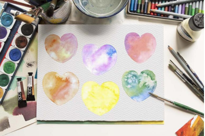 Watercolor Heart Clipart, Hand painted Multicolored Hearts