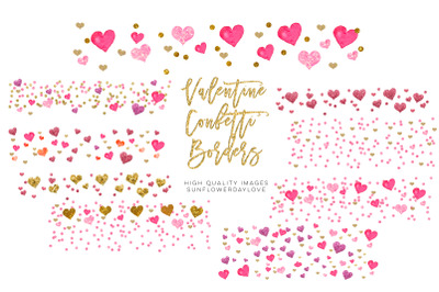 Valentine Pink Watercolor Hearts Borders clipart, Vday Frame Clipart,